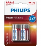 Bateria Power Alkaline LR03 B6 LR03P6BP/10 PHILIPS