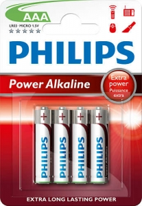 Bateria Power Alkaline LR03 B4 LR03P4B/10 PHILIPS